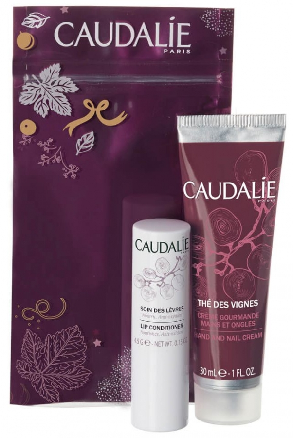 CAUDALIE WINTER DUO Thé des Vignes Hand and Nail Cream (30ml) + Lip Conditioner (4,5g)