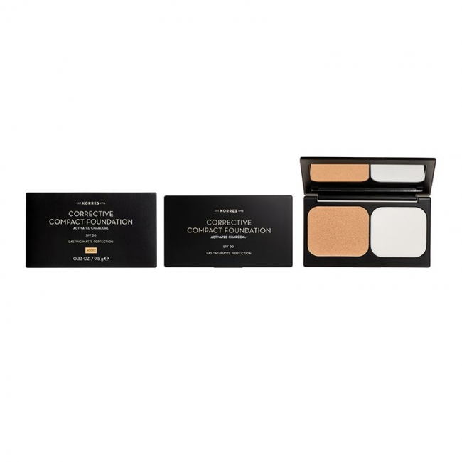 KORRES Activated Charcoal SPF20 Corrective Compact Foundation ACCF2 (9.5g)