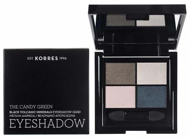 KORRES Black Volcanic Minerals Eyeshadow Quad • The Candy Green (5g)