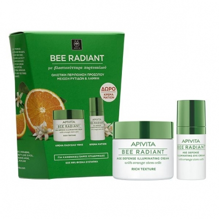APIVITA Bee Radiant Age Defense Illuminating Cream • Rich Texture (50ml) + ΔΩΡΟ Bee Radiant Age Defense Illuminating Eye Cream (15ml)