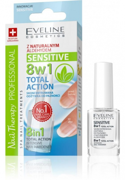 EVELINE COSMETICS Sensitive 8 σε 1 Total Action Intensive Nail Hardener (12ml)
