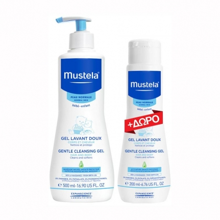 MUSTELA Promo Gentle Cleansing Gel Hair & Body (500ml) & ΔΩΡΟ (200ml)