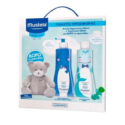 MUSTELA Promo Limited Edition Box Gentle Cleansing Gel (500ml) & Gentle Shampoo (500ml) με Δώρο Αρκουδάκι